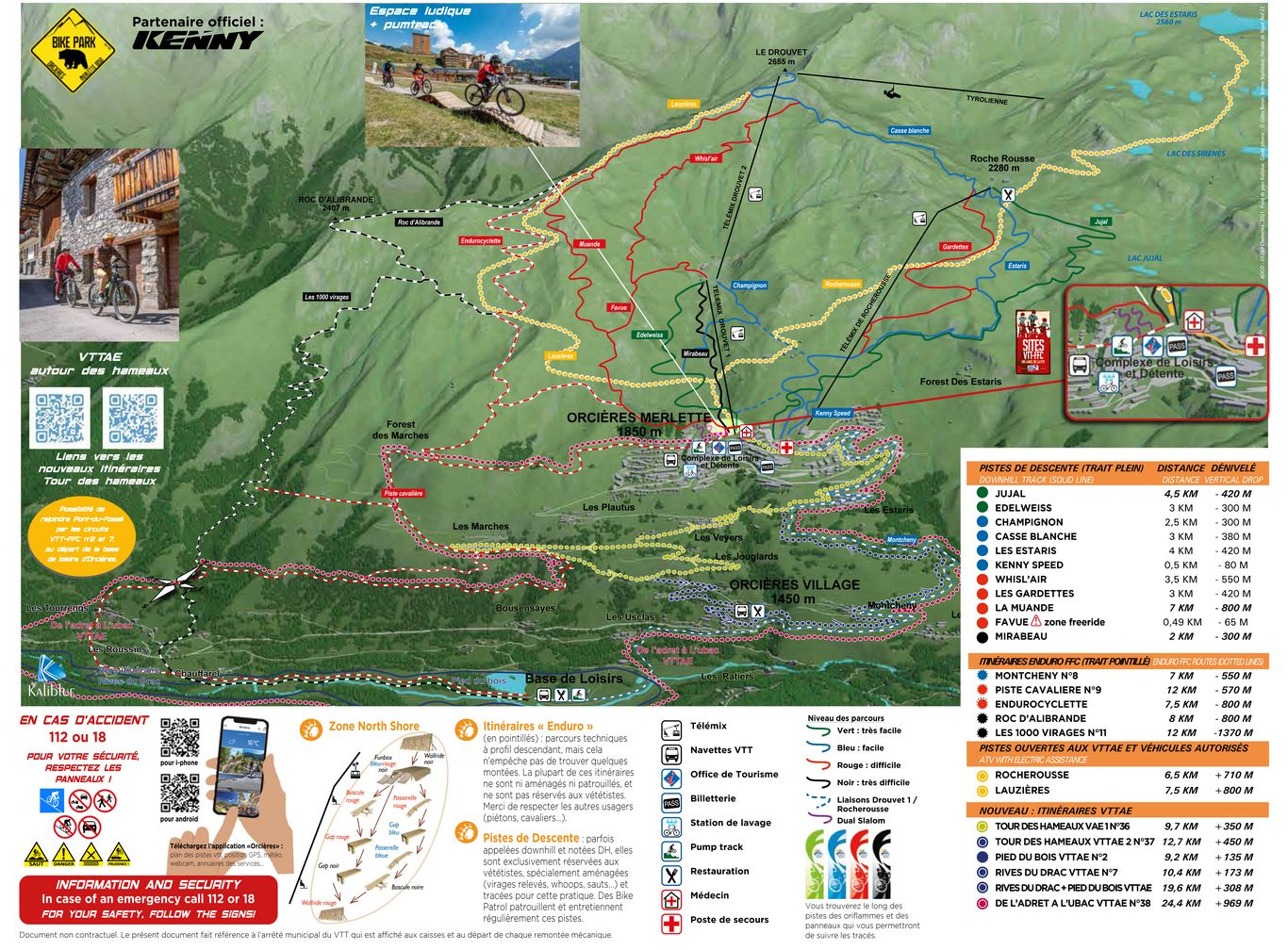 Map of the MTB area of Orcieres (2021)