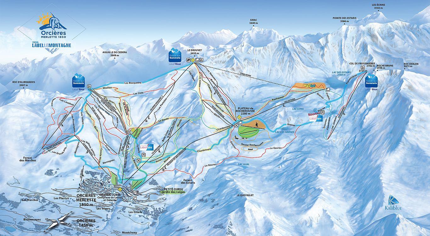 Skigebieden kaart van Orcières Merlette 1850