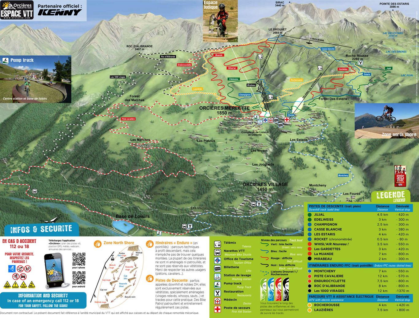 Map of the MTB area of Orcieres (2019)