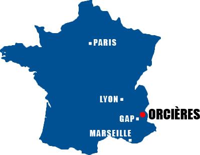 Situation géographique d'Orcières Merlette 1850 en France